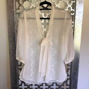 ALI & KRIS SIZE S sheer cream blouse with bow tie